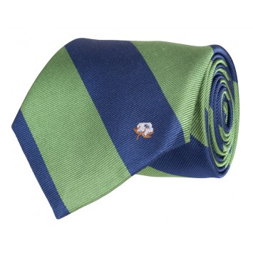 Cotton Boll Tie: Green & Navy